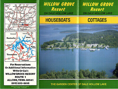 Willow Grove Resort Cottages Houseboats Dale Hollow Lake TN Vtge 1980's Brochure