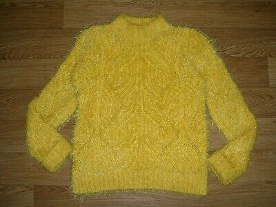 GEORGE Girls Yellow Fluffy Knitted Jumper Age 9-10 140cm Immaculate