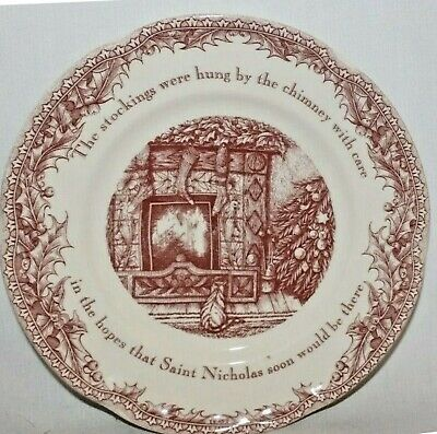 """Johnson Brothers Twas the Night Before Christmas Holiday 8"""" Salad Plate Set Of 4"""