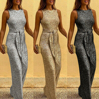 UK Women Ladies Casual Party Backless Playsuit Sequin Belted Sleeveless Jumpsuit