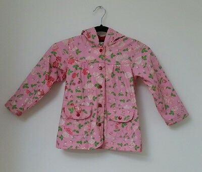 Hatley Girls Rain Coat Age 5 Years Hooded Floral Roses Pink Fleece Pocket Lined