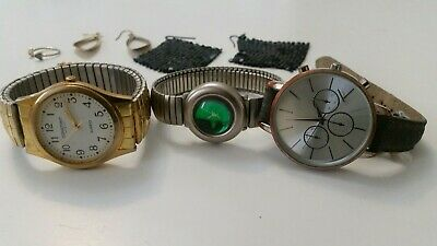 joblot womens bundle watches/jewellery/ring/lots mix earrings some spare/repair