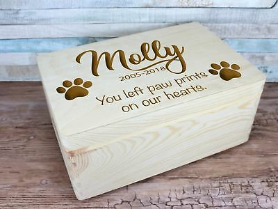 Personalised Engraved Dog Cat Remembrance Memory Keepsake Box Handles 30cm