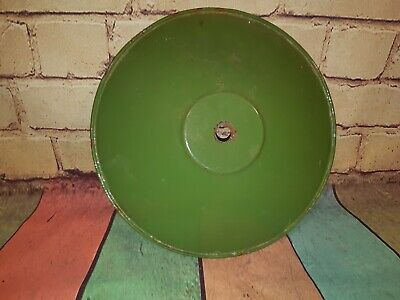 Vintage Industrial 1930's  French Enamel Metal Green Light Lamp Shade Coolie