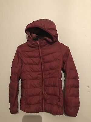 Girls Uniqlo Berry Lightweight Padded Quilted Coat Jacket Casual Hood Age 9-10