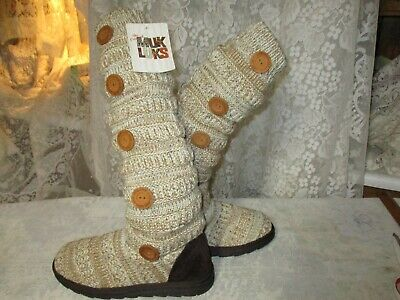 "New- ""The Original""Muk Luks""-Size 10-Oatmeal Color- 5 Button-21""Sweater-Slouch B"