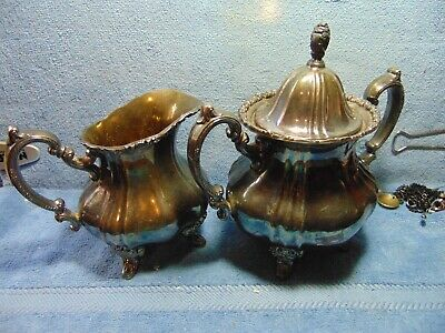 Antique Silver Plate creamer & sugar, EPCA, LANCASTER ROSE BY POOLE, 400.