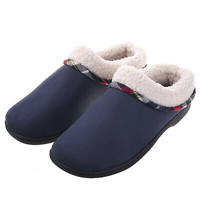 VONMAY Men's Fuzzy Slippers House Shoes Memory Foam Slip On Clogs Wool Fleece