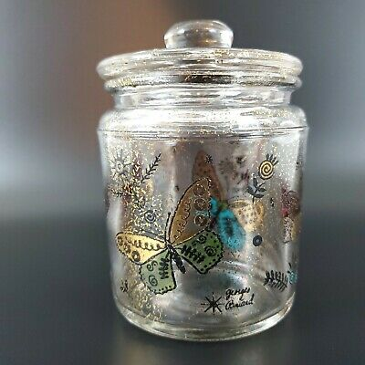 Vintage George Briard Small Glass Jar with Butterflies - MCM