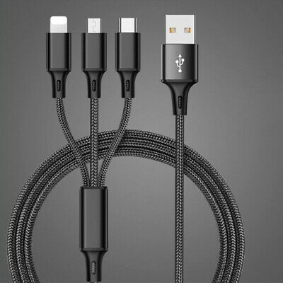 3 in 1 USB Charging Cable Multi Function Cell Phone Charger Cord Universal Quick