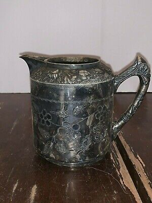 Victorian Meriden Silver Plated Repousse Flowers Creamer No 1987