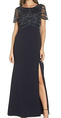 Adrianna Papell Women's Dress Navy Blue US 16 Gown Bead Embellished $310 #716