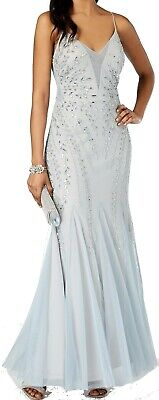 Adrianna Papell Women's Dress Baby Blue US 16 Gown Bead Embellished $259 #196