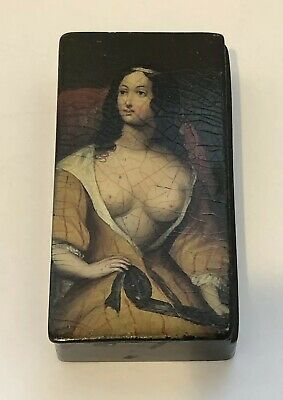 Antique Papier-Mâché Mache Lacquer Erotic Female Portrait Snuff Box