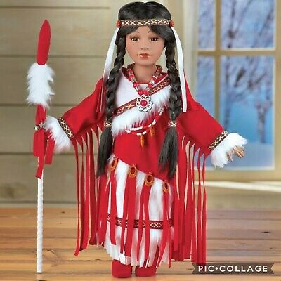"""16"""" Native American Style Faux Fur Pink Outfit Porcelain Collectible Indian Doll"""