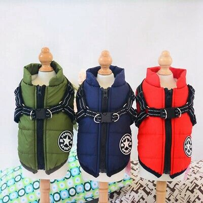 Pet Dog Winter Warm Coat Jacket Clothes Clothing Puppy Harness Costume Apparel