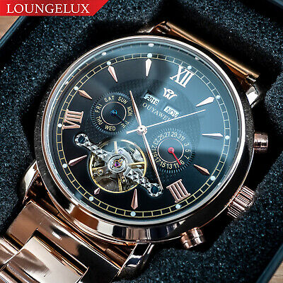Mens Flywheel Luxury Bling Skeleton Automatic Mechanical Movement Calendar Watch