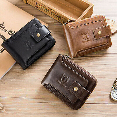 Mens Wallet Genuine Leather RFID Blocking Zipped Bifold Purse with Coin Pocket N