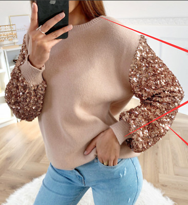 Womens Ladies Sequin Long Sleeve Pullover T Shirt Ladies Casual Blouse Jumper