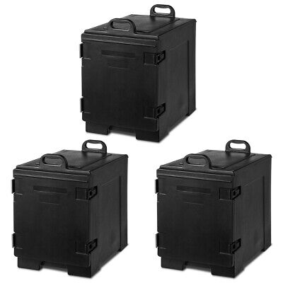 3 Pack End-Loading Insulated Food Pan Carrier Hot & Cold 5 Pan Capacity w/Handle