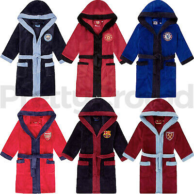 Kids Football Fleece Dressing Gown Bath Robe Nightwear Boys Gift 3-12 Years
