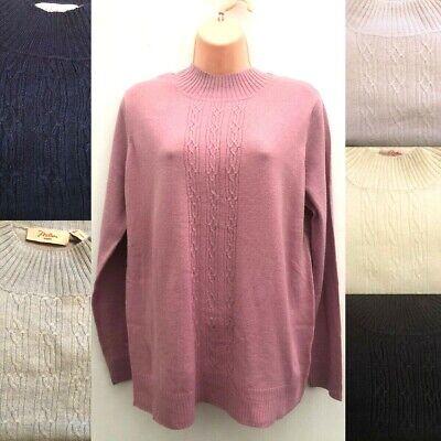 Ladies High Turtle Neck Jumper Sizes S-XXL Pink, Navy Blue Black Cream *NEW*