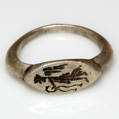 Museum Quality Roman Silver Seal Ring Depicting Victory Circa 200-300 Ad
