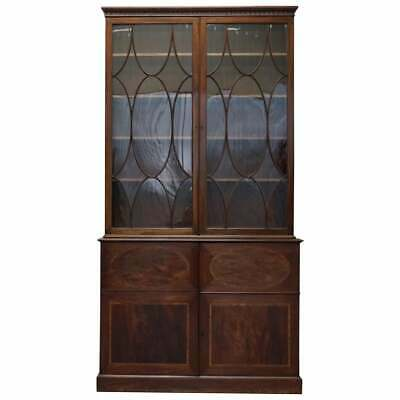 Rare George Iii Circa 1800 Mahogany Library Bookcase With Round Astral Glazing