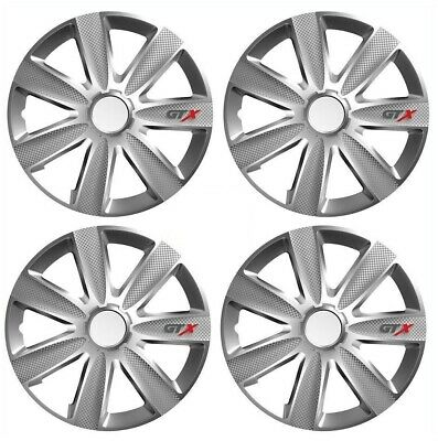 "4X 15/"" INCH GTX CARBON WHEEL TRIMS COVER HUB CAPS FOR VAUXHALL CORSA VXR 07-ON"