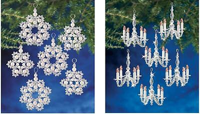 2 Holiday Beaded Ornament KitS CRYSTAL & PEARL SNOWFLAKES~CHANDELIERS Ornaments