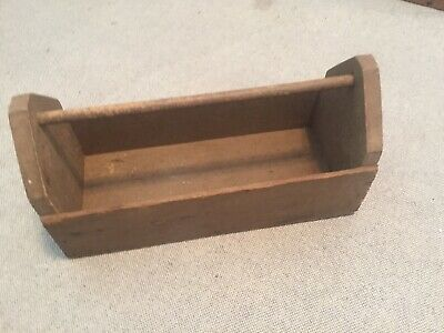 """Vtg Antique Small 14"""" Wooden Carpenters Tool Box Primitive Carrying Caddy"""