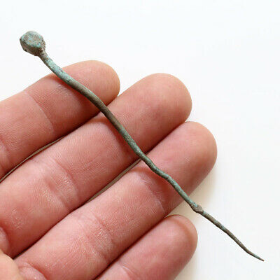 A Nice Viking Bronze Hair Pin With Polygonal Motive On The Top Ca 1000 Ad