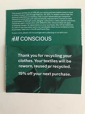 (2) H&M 15% off entire purchase coupon Store & Online Expire Feb /28/2021