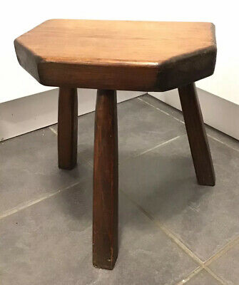 VICTORIAN UNUSUAL Solid PINE ? Bespoke 6 SIDED Wooden 3 Legged Milking Stool