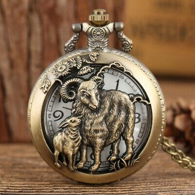 Antique Men Women Pocket Watch Quartz Analog Arabic Numerals Dial Necklace Chain