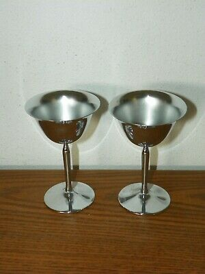 Pair ~ 2 Vintage Stainless Chrome Wine Toasting Cordial Goblets Stemmed Barware