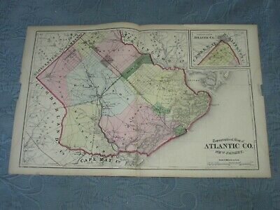 Antique 1872 Beers,Comstock, & Cline Map of Atlantic County,New Jersey