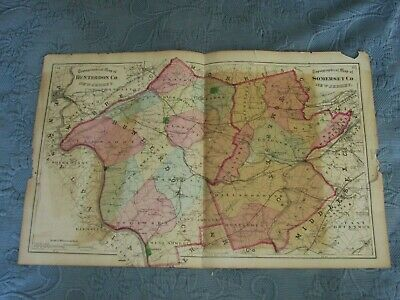 Antique 1872 Beers,Comstock, & Cline Map of Somerset County,NJ