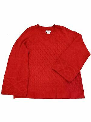 Womens Bright Red Cable Knit Style Wide Sleeve V Neck Sweater Shirt Top XL