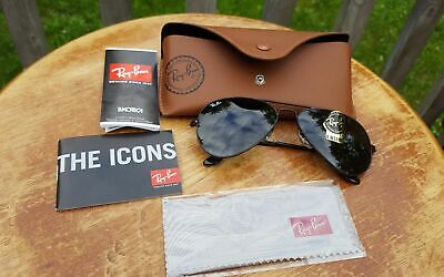 Ray Ban aviator 3025 002-62 ALL BLACK SIZE 58mm NEW