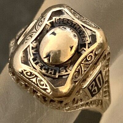 Art Deco Class Ring White Gold 14K 1930 Scarab Gerstmeyer Tech Vintage Size 6.5