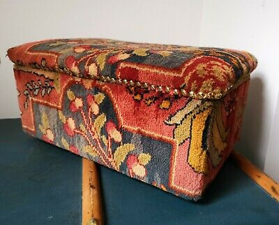 Rare Victorian Carpet Covered Wooden Chest Box