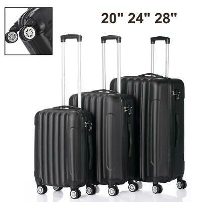High Quality Hardside 3 Piece Nested Spinner Suitcase Luggage Set Black