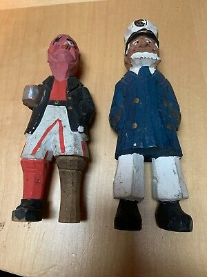 "7"" Vintage Hand Carved Painted Wooden Sea Captain & Pirate Nautical Figures Set"