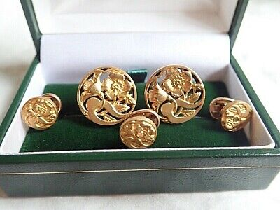 c1900 ART NOUVEAU Antique FRENCH 18K Gold Cufflinks & Collar Studs BUTTERCUPS
