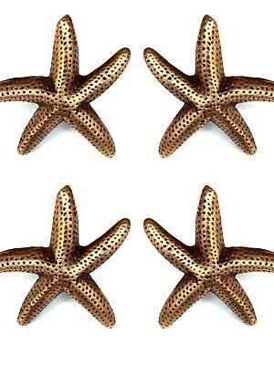 4 small STAR FISH solid 100% BRASS knobs TROPICAL VINTAGE old style 70mm B