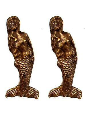 2 cute POLISHED mermaid handles heavy SOLID 100% BRASS old style house 11 cm B