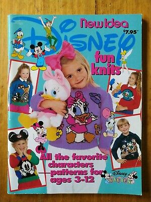DISNEY FUN KNITS Children's Fashion Knitting Pattern Book Ages 3-12 (1992)