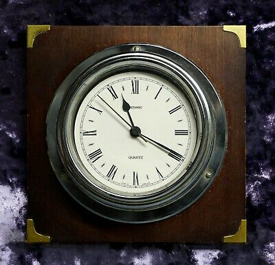 Retro Vintage Rare Metamec Wall Clock- Maritime Nautical Porthole Bulkhead Clock