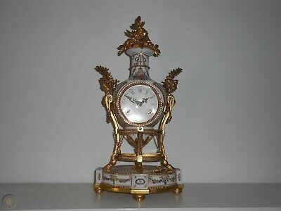 antique vintage old wind up clock marie antoinette porcelain museum 42 cm tall